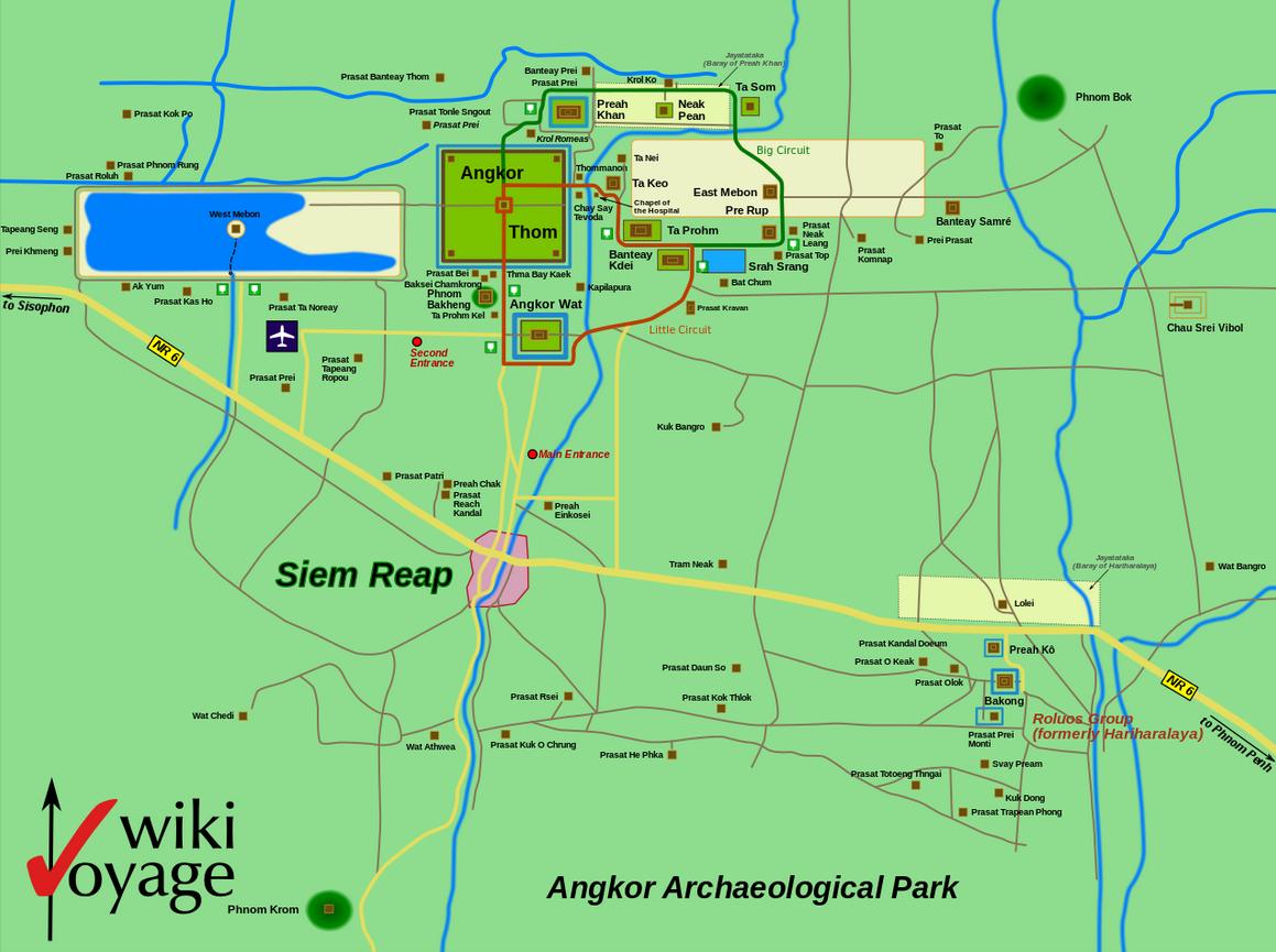 Die Detailkarte von Angkor Wat.