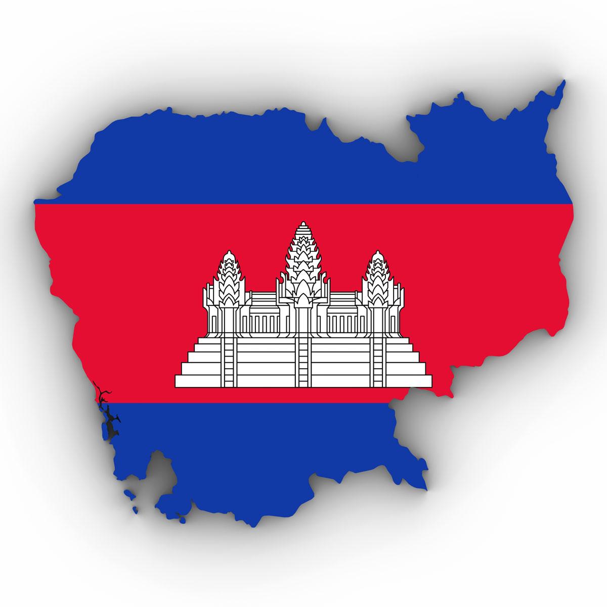 Grundriss von Kambodscha mit der Nationalfahne des Landes und Angkorwat (shutterstock/fredex)