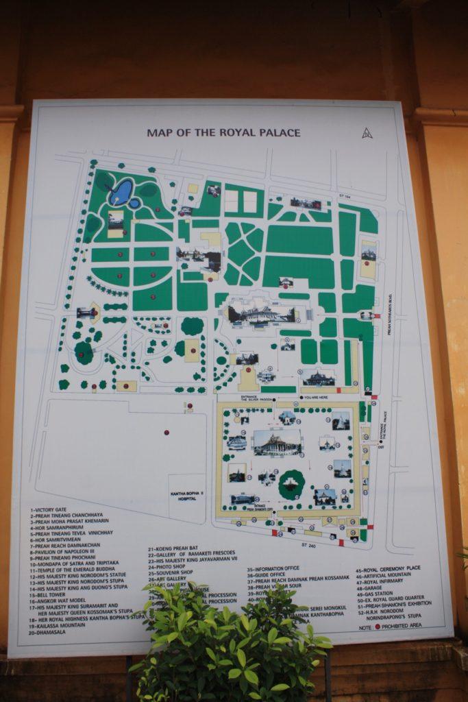 Die Karte des Königspalasts in Phnom Penh